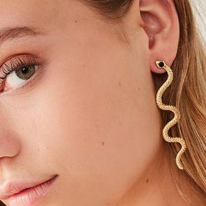 Jewelry - Gold Tone Snake Drop Earrings